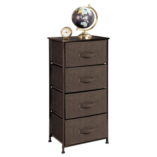 Latest mdesign vertical dresser storage tower sturdy steel frame wood top easy pull fabric bins organizer unit for bedroom hallway entryway closets textured print 4 drawers espresso brown