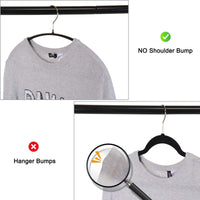 Home voilamart bump free clothes hangers 30 pack non slip dry wet hangers no shoulder bump suit hangers with bar hooks for men women dress coat pant closet organizer steel