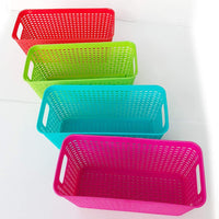 Best plastic baskets pantry organization and storage kitchen cabinet spice rack organizer for food shelf small colorful rectangle tray organizing for desks drawers weave deep closets art lockers set of 4
