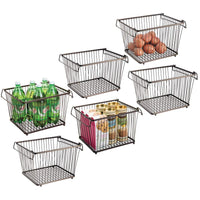mDesign Household Stackable Wire Storage Organizer Bin Basket with Built-In Handles for Kitchen Cabinets, Pantry, Closets, Bedrooms, Bathrooms � Large, Pack of 6, Steel in Durable Bronze Finish