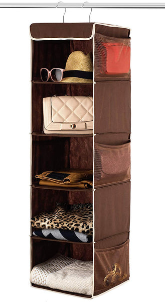 Zober 5 Shelf Hanging Closet Organizer Space Saver, Roomy Breathable Hanging Shelves With (6) Side Accessories Pockets, And 2 Sturdy Hooks, For Clothes Storage, And Shoes, Etc. 12 x 11 ½ x 42 In, Java