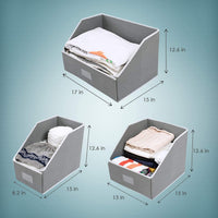 Save woffit linen closet storage organizers set of 3 foldable baskets to organize your sheets towels washclothes blankets clothing sweaters etc 100 organic fabric bins