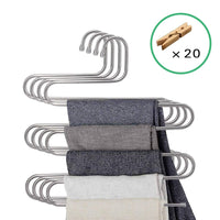 Lucky life 4 Pack Pants Hangers S Shape Stainless Steel Cloth Hangers Space Saving Organizer for Jeans Pants Scarf