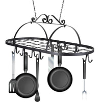 Kaluo Iron Oval Pot Rack, Ceiling Mounted Hanging Kitchen Utensils Pots Pans Holder Hanger Rack
