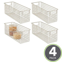 Purchase mdesign farmhouse decor metal wire food storage organizer bin basket with handles for kitchen cabinets pantry bathroom laundry room closets garage 16 x 6 x 6 4 pack satin