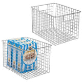 Purchase mdesign farmhouse decor metal wire food storage organizer bin basket with handles for kitchen cabinets pantry bathroom laundry room closets garage 12 x 9 x 8 2 pack chrome
