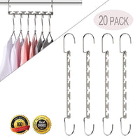 Purchase magicool 20 pack metal wonder magic cascading hanger space saving hangers closet organizers suit for shirt pant clothes hangers space saving