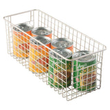Order now mdesign farmhouse decor metal wire food storage organizer bin basket with handles for kitchen cabinets pantry bathroom laundry room closets garage 16 x 6 x 6 4 pack satin
