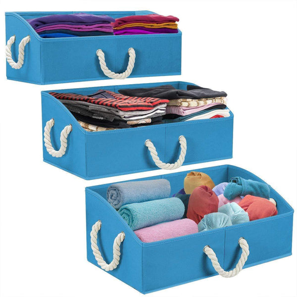 Budget sorbus trapezoid storage bin box basket set foldable with cotton rope carry handles great for closet clothes linens toys nursery non woven fabric trapezoid bin blue