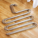 Organize with eco life sturdy s type multi purpose stainless steel magic pants hangers closet hangers space saver storage rack for hanging jeans scarf tie family economical storage 1 pce