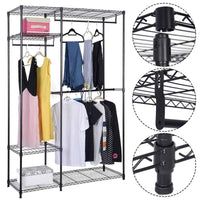 Budget s afstar safstar heavy duty clothing garment rack wire shelving closet clothes stand rack double rod wardrobe metal storage rack freestanding cloth armoire organizer 1 pack