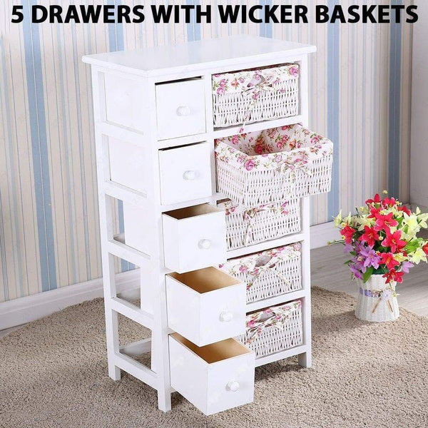 Exclusive durable dresser storage tower 5 drawers with wicker baskets sturdy frame wood top easy pulling organizer unit for bedroom hallway entryway closet white
