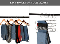 Featured multi purpose pants hangers ceispob s type 5 layers stainless steel clothes hangers storage pant rack closet space saver for trousers jeans towels scarf tie 4 pack