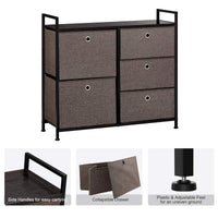 On amazon langria faux linen wide dresser storage tower with 5 easy pull drawer and handles sturdy metal frame and wooden table organizer unit for guest dorm room closet hallway office area dark brown