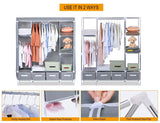 Shop portable clothes closet canvas wardrobe closet huge free standing clothes organizer storage with hanging rod dust proof cover 67x58x17 7 inch