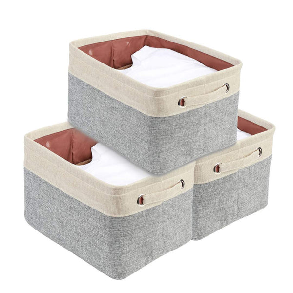 DECOMOMO Extra Large Foldable Storage Bin [3-Pack] Collapsible Sturdy Cationic Fabric Storage Basket Cube W/Handles for Organizing Shelf Nursery Home Closet & Office - Grey & Beige 15.8 x 12.5 x 10