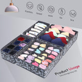 Online shopping onlyeasy set of 4 closet underwear organizer drawer dividers foldable cloth storage boxes for bras socks underwears briefs ties scarves grey classic mnclss4p