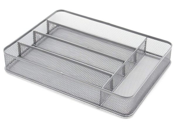 ESYLIFE 5 Compartment Mesh Kitchen Cutlery Trays Silverware Storage Kitchen Utensil Flatware Tray, Silver