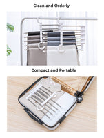 Cheap isue set of 2pcs 5 in 1 portable stainless steel clothes pants hangers closet storage organizer for pants jeans hanging 13 38 x 7 2in