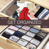 Shop for skyugle sock organizer underwear drawer divider 24 cell collapsible closet foldable clothes tie handkerchief wardrobe cabinet storage boxes beige 2 packs 1 mesh laundry bag for sock underwear