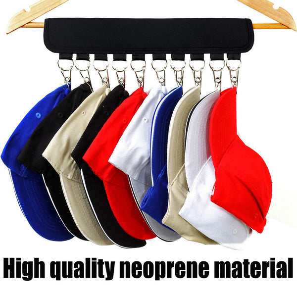XJunion Cap Organizer Hanger, 10 Baseball Cap Holder, Hat Organizer for Closet - Change Your Cloth Hanger to Cap Organizer Hanger - Keep Your Hats Cleaner Than a Hat Rack