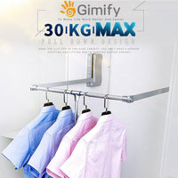 Best seller  gimify pull down closet rod wardrobe lift organizer storage systerm hanger rod for hanging clothes space saving aluminum adjustable 32 68 42 28inch