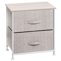 Organize with mdesign end table night stand storage tower sturdy steel frame wood top easy pull fabric bins organizer unit for bedroom hallway entryway closets textured print 2 drawers linen natural