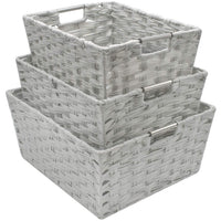 Shop for sorbus woven basket bin set storage for home decor nursery desk countertop closet cube organizer shelf stackable baskets includes built in carry handles set of 3 light gray