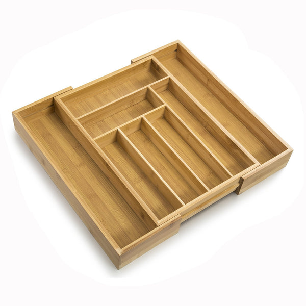SMAGREHO Bamboo Expandable Cutlery Tray - Utility Drawer Organizer with 8 Compartments and 2 Adjustable Dimensions - Silverware Drawer Dividers - Flatware Tray