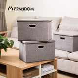 Storage prandom large collapsible storage bins with lids 3 pack linen fabric foldable storage boxes organizer containers baskets cube with cover for home bedroom closet office nursery 17 7x11 8x11 8