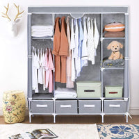 Shop here portable clothes closet canvas wardrobe closet huge free standing clothes organizer storage with hanging rod dust proof cover 67x58x17 7 inch