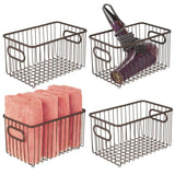 Discover the mdesign metal bathroom storage organizer basket bin modern wire grid design for organization in cabinets shelves closets vanity countertops bedrooms under sinks 4 pack bronze