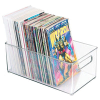 Budget friendly mdesign plastic home storage organizer container bin with handles for closets cabinets shelves hold dvds video games head sets controllers comics movies 14 5 long 8 pack clear