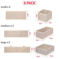 Heavy duty diommell 6 pack foldable cloth storage box closet dresser drawer organizer fabric baskets bins containers divider with drawers for clothes underwear bras socks lingerie clothing