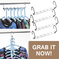 Amazon best 4pcs clothes hangers space saver closet organizer with vertical and horizontal options premium abs material in solid silver color