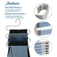 Related doiown s type stainless steel clothes pants hangers closet storage organizer for pants jeans scarf hanging 14 17 x 14 96ins set of 3 5 pieces light blueupgrade style