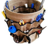 Order now garden caddy bucket tool organizer waterproof waxed canvas tool bag heavy duty multi purpose bucket tool bag holds all little tools for garden yard perfect for gardener or fishing enthusiast cytb01