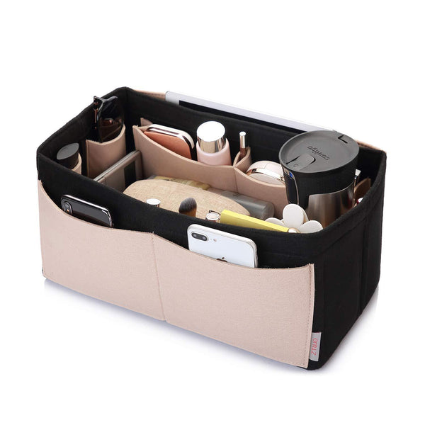 Discover the felt purse organizer bag in bag organizer for tote handbag speedy neverfull medium large extra largex large beige and black