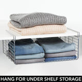 Great mdesign modern versatile metal closet cabinet organizer storage 2 tier shelf divider and separator for bedrooms bathrooms entryways hallways kitchen pantry office easy install 2 pack chrome