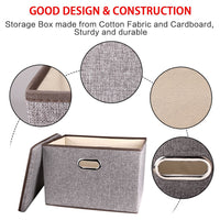 Home large linen fabric foldable storage container 2 pack with removable lid and handles storage bin box cubes organizer gray for home office nursery closet bedroom living room