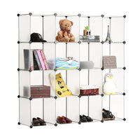 Best bastuo 16 cubes diy storage cabinet clothes wardrobe closet bookcase shelf baskets modular cubes closet for toys books clothes white with doors