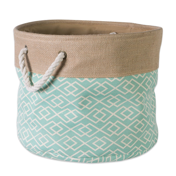 "DII Collapsible Burlap Storage Basket or Bin with Durable Cotton Handles, Home Organizational Solution for Office, Bedroom, Closet, Toys, & Laundry (Large Round - 16x15""), Diamond Aqua"