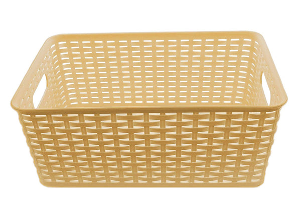 YBM HOME Plastic Rattan Storage Box Container Open Bin Basket Closet Shelf Kitchen Cabinet Pantry Office Desktop Organizer ba426-beige (Large, Beige)