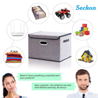 Buy now seckon collapsible storage box container bins with lids covers2pack large odorless linen fabric storage organizers cube with metal handles for office bedroom closet toys