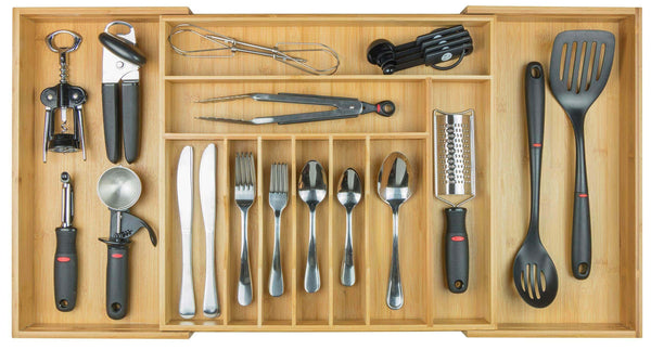 KitchenEdge Premium Silverware, Flatware and Utensil Organizer for Kitchen Drawers, Expandable to 33 Inches Wide, 11 Compartments, 100% Bamboo - adtwixt