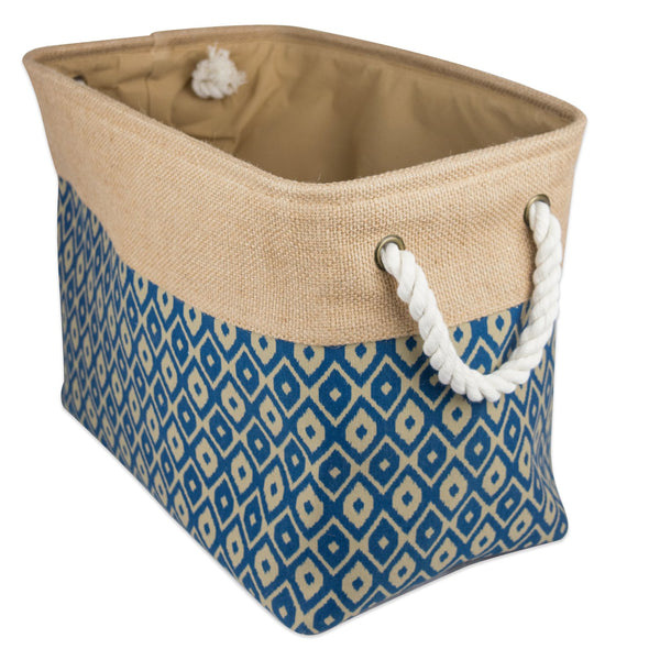 "DII Collapsible Burlap Storage Basket or Bin with Durable Cotton Handles, Home Organizational Solution for Office, Bedroom, Closet, Toys, & Laundry (Small - 14x8x9""), Blue Ikat"