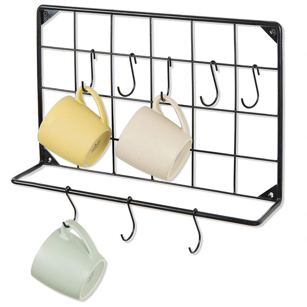 MyGift Wall-Mounted Black Metal Kitchen Mug & Utensil Organizer Rack with 8 S-Hooks