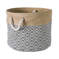 "DII Collapsible Burlap Storage Basket or Bin with Durable Cotton Handles, Home Organizational Solution for Office, Bedroom, Closet, Toys, & Laundry (Medium Round - 15x12""), Diamond Gray"