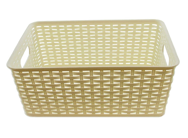 YBM HOME Plastic Rattan Storage Box Container Open Bin Basket Closet Shelf Kitchen Cabinet Pantry Office Desktop Organizer (Medium, White)