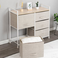 Save soges 5 drawer storage organizer unit for bedroom play room closets entryway free standing rack metal frame with fabric bin beige 107 bm